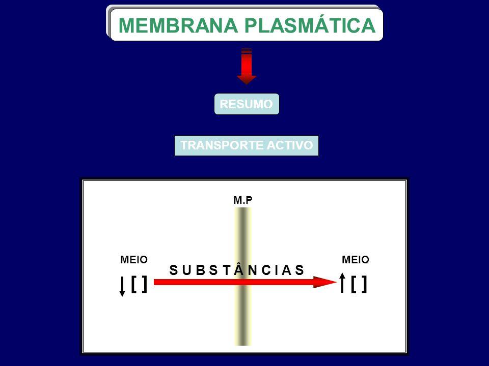 MEMBRANA PLASMÁTICA [ ] S U B S T Â N C I A S RESUMO TRANSPORTE ACTIVO